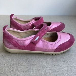 Geox Girl US 10.5 Pink Leather Mary Jane's Shoes